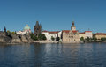 Charles Bridge, tower, and Vltava embankment viewed from the river, Prague