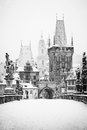 Charles bridge in winter, Prague Royalty Free Stock Photography