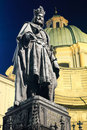 Charles IV statue at night. Prague. Royalty Free Stock Photo