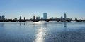 Charles river with boston skyline panoramic scenery including the of massachusetts usa in sunny ambiance at evening time Stock Photography