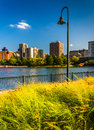 The Charles River at North Point Park in Boston, Massachusetts. Royalty Free Stock Photo