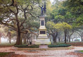 Charleston south carolina battery park statue in on a foggy morning in downtown Stock Photos