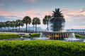 Charleston south carolina pineapple fountain strand parkerar Arkivbilder