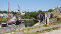 Charlestown harbour near st austell sailing ships in Stock Photos