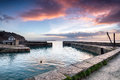 Charlestown sunrise at historic harbour on the cornwall coast near st austell Stock Photography