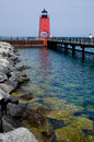 Charlevoix södra pier lighthouse michigan Royaltyfria Bilder