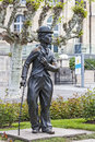 Charlie chaplin statue vevey may a bronze of one of the most creative talents in the era of silent movies on the promenade reminds Royalty Free Stock Image