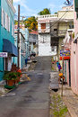 Charlotte amalie st thomas jan side street off main street st thomas many duty free shops line streets alleys charlotte amalie Royalty Free Stock Photos