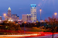 Charlotte city skyline at night Stock Image