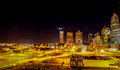 Charlotte city skyline at night looking park Royalty Free Stock Image