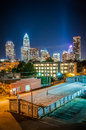 Charlotte city skyline night scene and architecture at and milling factory Royalty Free Stock Photography
