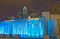 Charlotte city skyline view of at night near romare bearden park Stock Photos