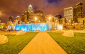 Charlotte city skyline view of at night near romare bearden park Royalty Free Stock Photo