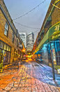 Charlotte nc december night view of a narrow alley street with restaurants in Royalty Free Stock Photos