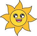 Charmed sun sticker outline illustration Royalty Free Stock Photo