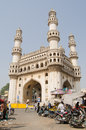 Charminar tower hyderabad andhra pradesh india january view through the busy market towards the landmark on january the area is at Royalty Free Stock Photo