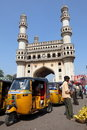 Charminar and tuk-tuks Royalty Free Stock Photos