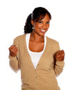 Charming afro-american young woman looking at you Royalty Free Stock Images