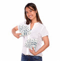 Charming asiatic young woman with cash money portrait of a looking at you on isolated background Stock Photos