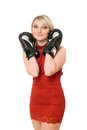 Charming blond lady in boxing gloves Royalty Free Stock Photos
