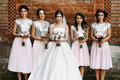 Charming bridesmaids in the fabulous dresses