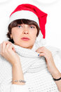 Charming brunette in cap santa claus Stock Image