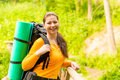 Charming brunette in a hike Royalty Free Stock Photography