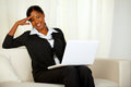 Charming business black woman on laptop Royalty Free Stock Photo