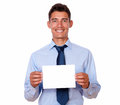 Charming businessman holding a blank card portrait of of copyspace on white background Stock Photography