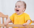 Charming child in the crib Royalty Free Stock Photos