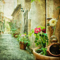 Charming courtyards of greece retro styled picture Royalty Free Stock Photo