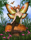 Charming fairy fantasy image sitting on a mushroom Royalty Free Stock Photos