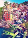 Charming fascinating city landscape with rocks on the coast of Riomaggiore in Cinque Terre, Liguria, Italy. beautiful places Royalty Free Stock Photo