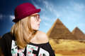Charming girl in hipster glasses on sunny Egypt Royalty Free Stock Photo