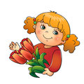 Charming girl holding a bouquet of tulips isolated on white