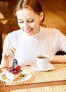 Charming girl and pie slice. Royalty Free Stock Images