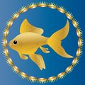 Charming goldfish surrounded by precious crowns. Realistic image on a blue background the color of sea water.
