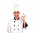 Charming guy chef gesturing ok sign with fingers portrait of a on white background Stock Photo