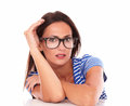 Charming lady with spectacles looking at you in white background Royalty Free Stock Photography