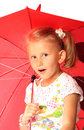 The charming little girl with red umbrella Stock Photos