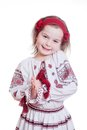 The charming little girl in the ukrainian national suit home studio it is my daughter Stock Photography