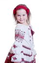The charming little girl in the ukrainian national suit home studio it is my daughter Royalty Free Stock Images