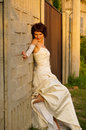 A charming and lovely girl pretty in wedding dress Stock Photo