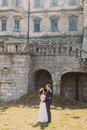 Charming newlywed bride and groom holding each other on lawn near beautiful ruined baroque palace Royalty Free Stock Photo