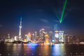 Charming night at shanghai view of skyline with light show Stock Images