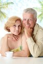 Charming old couple at the resort Stock Photo