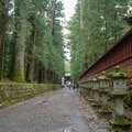 Charming scene of walkway in Nikko`s World Heritage Sites with japanese stone lanterns and fresh green trees , Tochigi , backgrou Royalty Free Stock Photo
