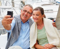 Charming senior couple self photography Stock Photo