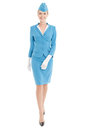 Charming Stewardess In Blue Uniform On White Background