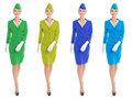 Charming stewardess dressed in uniform with color variants isolated on white background Stock Photo
